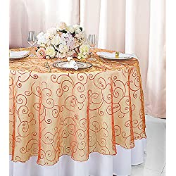 "Wedding Linens Inc. 90"" Round Embroidered Organza Sheer Table Overlays Toppers Organza Tablecloths Table Covers Linens for Wedding Party Banquet Events - Orange"
