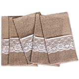 Ling's moment 10 Pack 4 x 8 Inch Natural Burlap Silverware Napkin Holders Cutlery Holders Pouch for Vintage Wedding Decorations Party Bridal Shower Table Setting Decorations