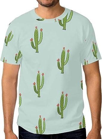 FAJRO - Camiseta de Manga Corta para Hombre, diseño de Cactus, Color Verde: Amazon.es: Ropa y accesorios