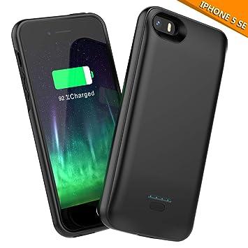 4e56d09a6af Moonmini Funda Batería iPhone SE 5 5S, BasicStock 4000mAh Batería Externa  Recargable Ultra Delgada Protector portátil Carga Caso de Prueba de Choque  para ...