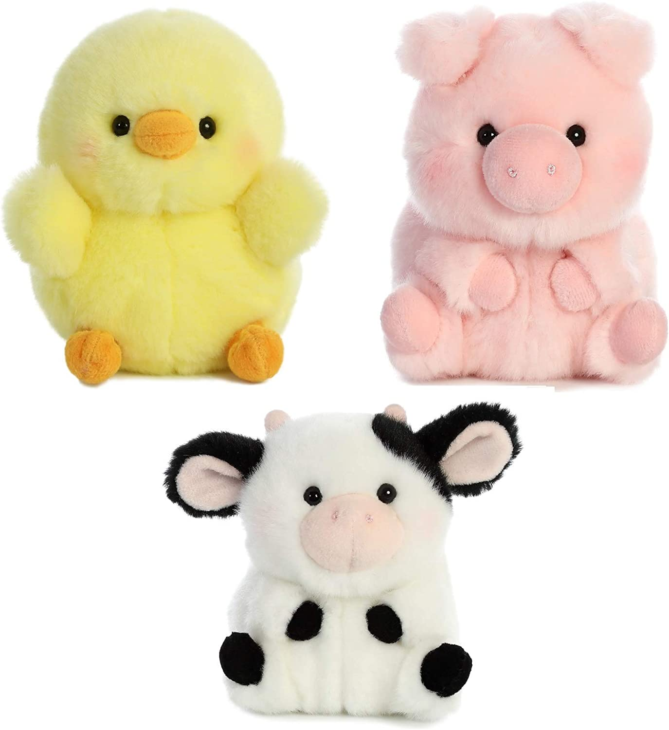 Amazon Com Aurora World Pig Cow And Chicken Stuffed Animal Plush Toy Farm Animals Theme Bundle Of 3 Rolly Pet Items 5 Inches Each Toys Games