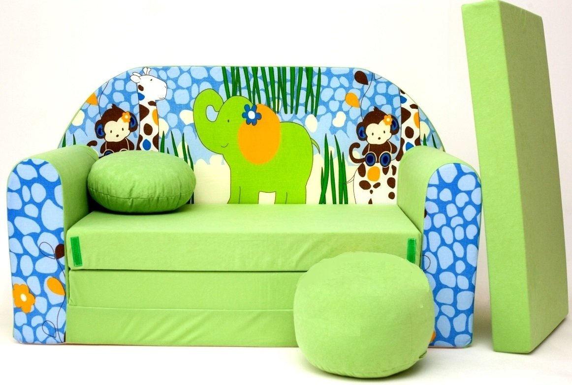 neo4kids–Divano letto per bambini, 3in 1poltrona letto estraibile con motivo, piccolo cuscino e un cuscino incluso. Per Dormire e giocare. Moleo M00000649