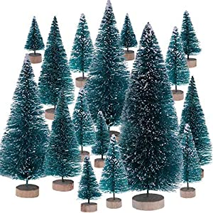 Leinuosen Mini Christmas Trees Artificial Sisal Trees Snow Frost Ornaments with Wooden Bases for Christmas Home Party Decoration, 6 Sizes 92