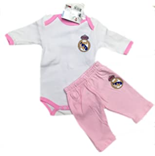 Body Real Madrid para bebé Manga Larga y Pantalón Rosa