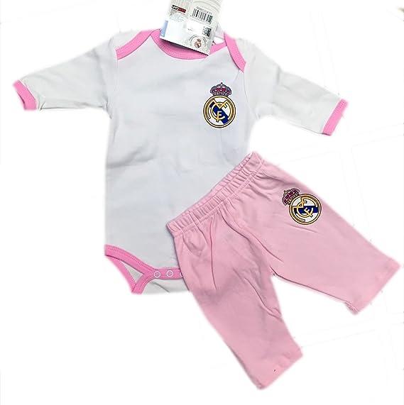 Body Real Madrid para bebé Manga Larga y Pantalón Rosa