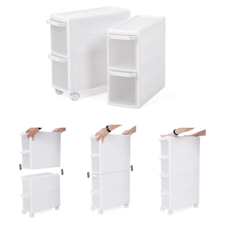 SONGMICS Carrito estrecho con ruedas Estantería de almacenamiento con cajones 4 Niveles Utilizable por separado Plástico PP Blanco 18 x 46 x 84,5 cm ...