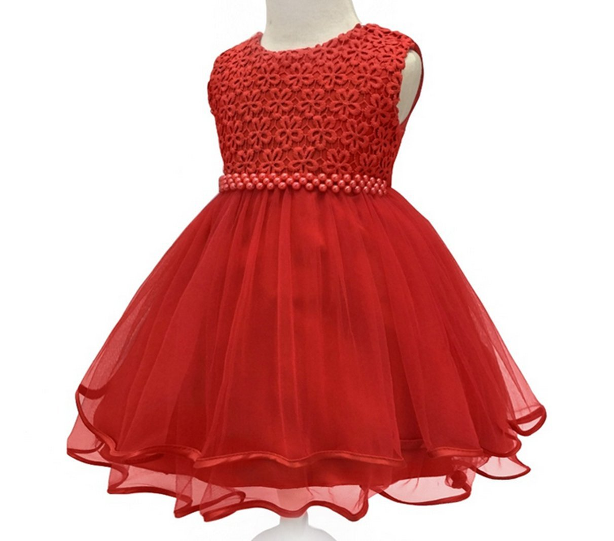 HX Infant and Toddler Princess Pearl Tutu Special Occasion Dresses for Baby Girl's Wedding Party (12M/Fit 10-13 Month, Red)