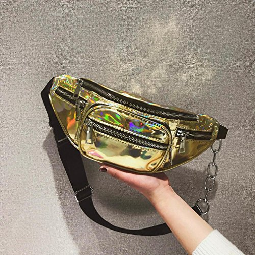 capacity Chest Gold Laser Unisex Fashion High Crossbody Stylish Bags Bag Bag Men amp;Women Leather for Shoulder Chest BqxxU7S