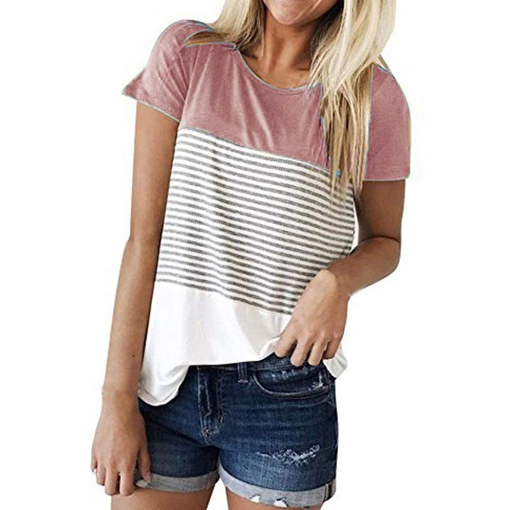 JFLYOU Women T-Shirt,Fashion Short Sleeve Triple Color Block Stripe Casual Blouse Tunic Tee(Pink1,S)