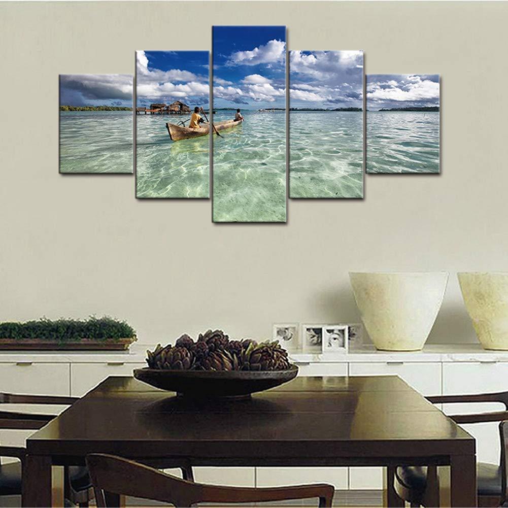 Noframe Dimensione2 Arte della parete Decorazione per la casa Cornice Pittura su tela Poster 5 pannelli Barca Vista sul mare per soggiorno Immagini moderne HD stampate,Frame,Dimensione1