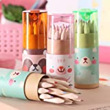 """Mziart Cute Cartoon Bear Mini Drawing Colored Pencils with Sharpener, 3.5"""" Length, Portable, 12 Count in Tube (Pack of 3)"""