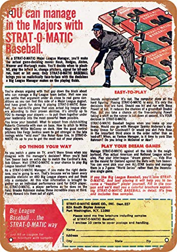 Wall-Color 9 x 12 Metal Sign - 1972 Strat-O-Matic Baseball - Vintage Look from Wall-Color