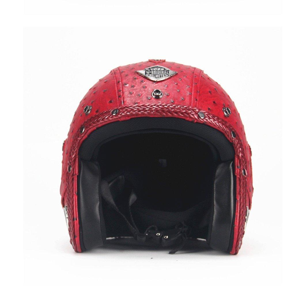 DGF ヘルメットビンテージハンドメイドレトロハーレーヘルメットバイクカーハーフヘルメットハーフカバーニュートラル3/4レザーヘルメット (色 : E, サイズ さいず : XXL) B07F9XHWPC XX-Large|E E XX-Large