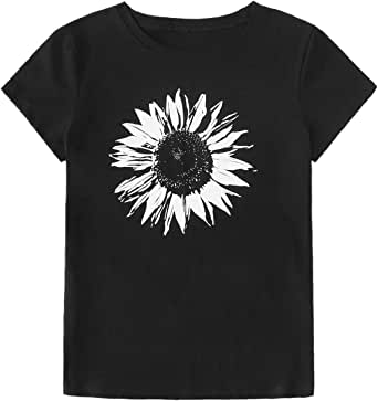 Floerns Women's Sunflower Graphic O Neck Short Sleeve T Shirts Top Tee