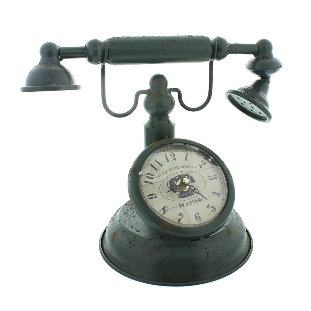 Old Fashioned Telephone Hometime Metal Mantel Clock Vintage Shabby Chic