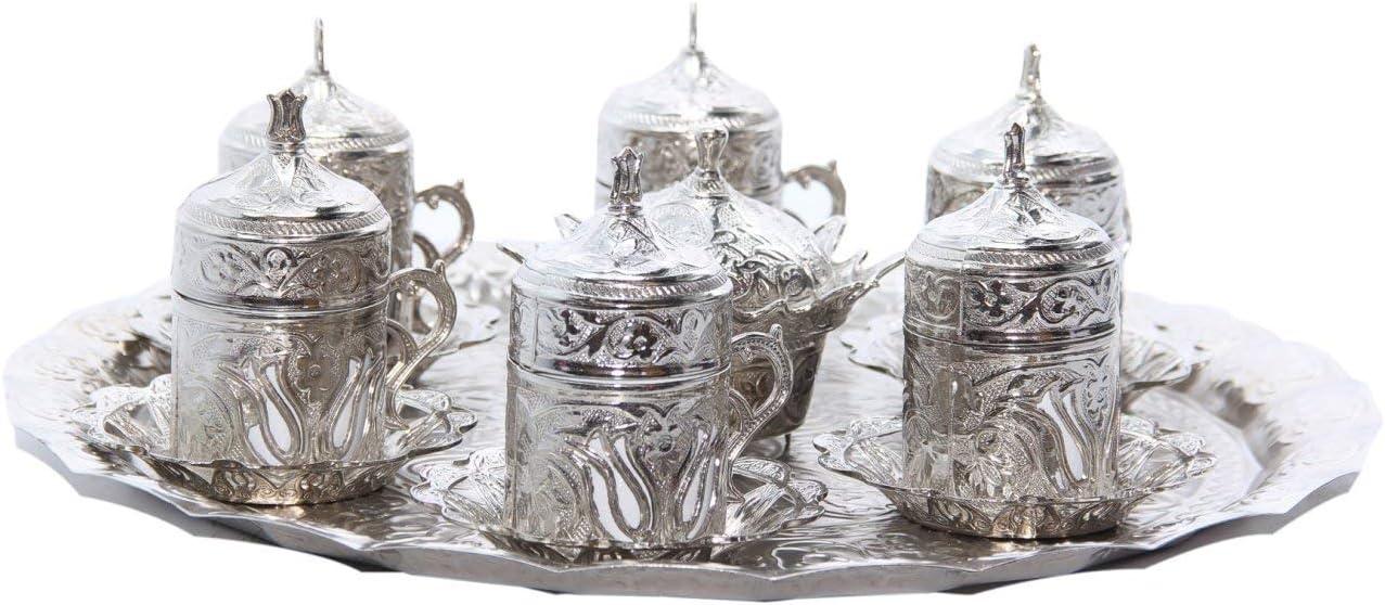 (Satz von 6) Ottoman Turkish Greek Arabic Coffee Espresso Serving Cup Saucer (Silver)