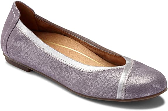 Vionic Women's Spark Caroll Ballet Flat - Ladies Dress Casual Shoes with Concealed Orthotic Arch Support Pewter 6.5 W US