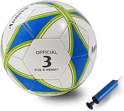 Aoneky Balón de Fútbol para Niños - Talla 3 Diámetro 18 cm, Balón de Fútbol Profesional con Bomba de Aguja, Entrenamiento de Fútbol para Partido Competencia, Juguete Infantil Deportes al Aire Libre: