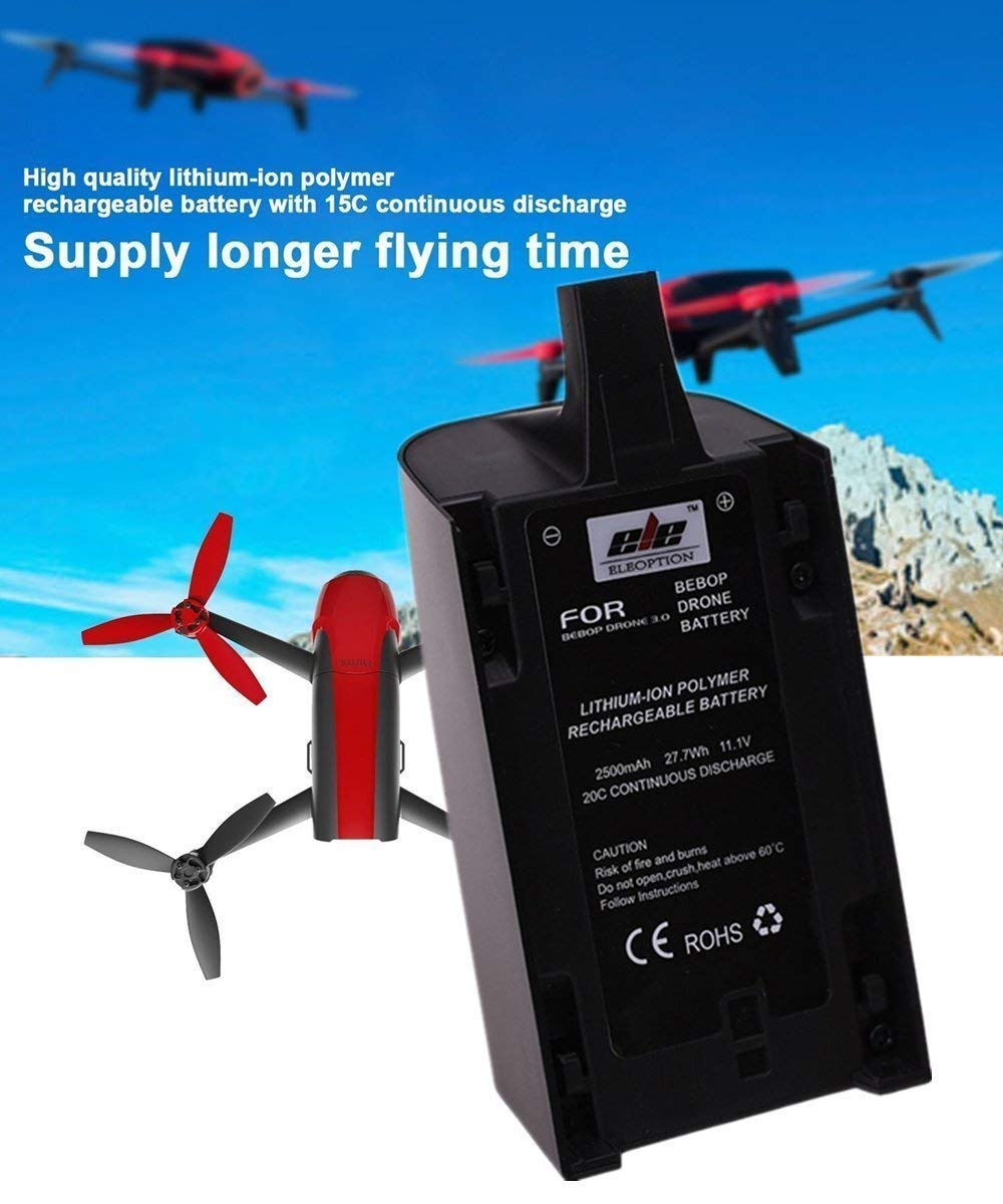 2 Pcs 2500mAh 11.1V High Capacity Upgrade Rechargeable Battery Pack Replacement Extended flight times for Parrot Bebop Drone 3.0 Quadcopter Parts chuangsheng