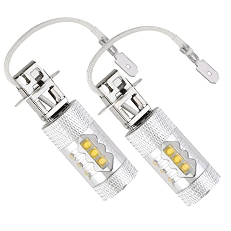 2 Pack H3 80W Coche LED Niebla Lámpara Bombilla de Conducción Diurna luz 7500 Auto LED