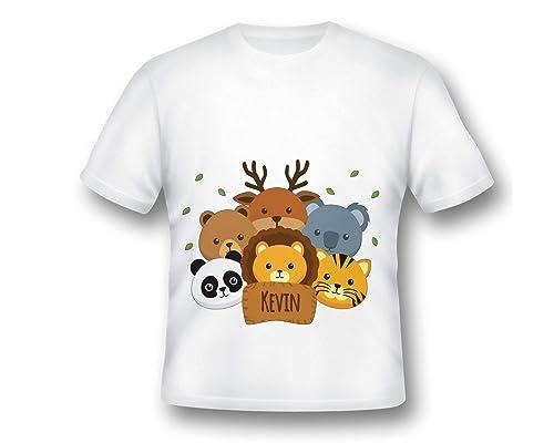 Animal Decor Over Print T-Shirt,Boy T Shirt,Size XS-2XL Big,Cartoon Illustration
