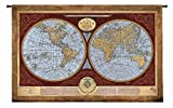 Fine Art Tapestries Map Of The World Large Wall Tapestry 4589-WH 76 inches wide by 53 inches long, 100% cotton