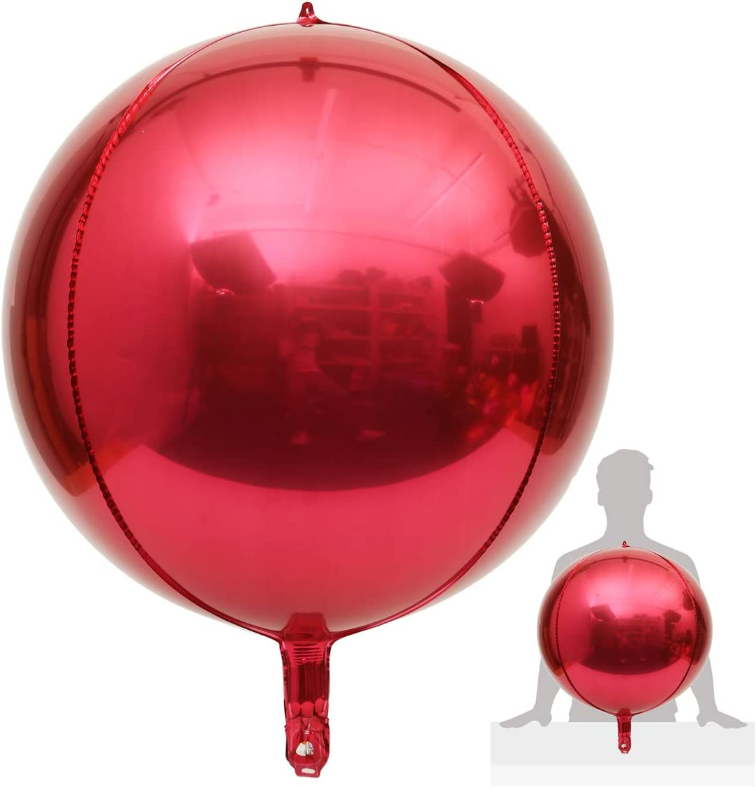 """Eanjia Hangable 2 Count 22"""" Red 4D Large Round Sphere Aluminum Foil Balloon Mirror Metallic Silver Balloon Birthday Party Wedding Baby Shower Marriage Decor Supplies"""