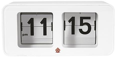 Home Flip Time Reloj de Mesa, Acero, Blanco