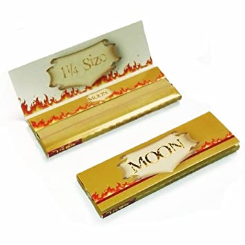 MOON Unbleached Slow Burning Pure Hemp Rolling Paper Cigarette Paper (77mm  - 2 booklets)