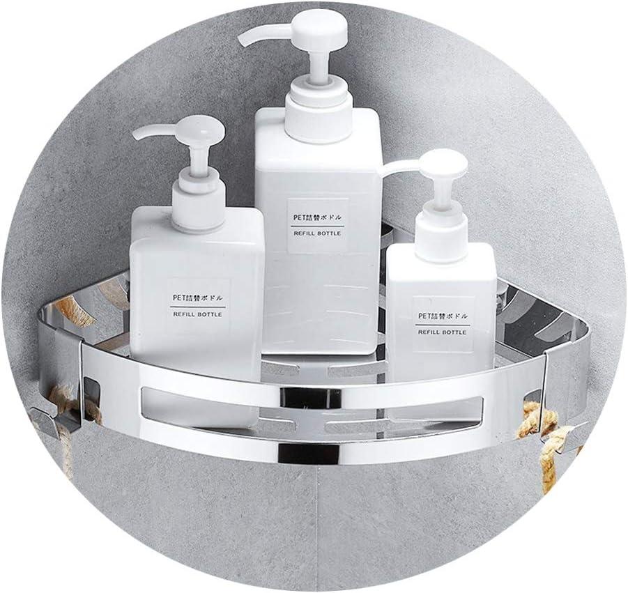 Estante para baño Kazeila, sin perforaciones, estanteria para ducha montado en la pared, pegamento autoadhesivo, acero inoxidable 304 con 2 ganchos para colgar accesorios de baño (triángulo)