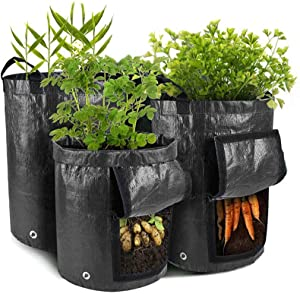 3-in-1 Potato Grow Bags, Garden Plant Grow Bags with Handles & Harvest Window for Vegetables, Fruits, Onion, Carrot, Home Grow Bag(5 Gallon/7 Gallon/10 Gallon)