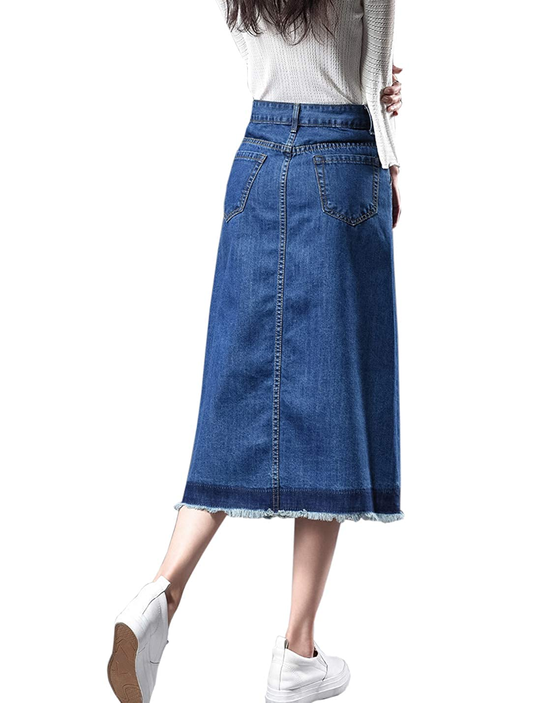 8394e82b64 Flygo Women's High Waisted Button Front A-Line Midi Long Frayed Denim Jean  Skirt at Amazon Women's Clothing store:
