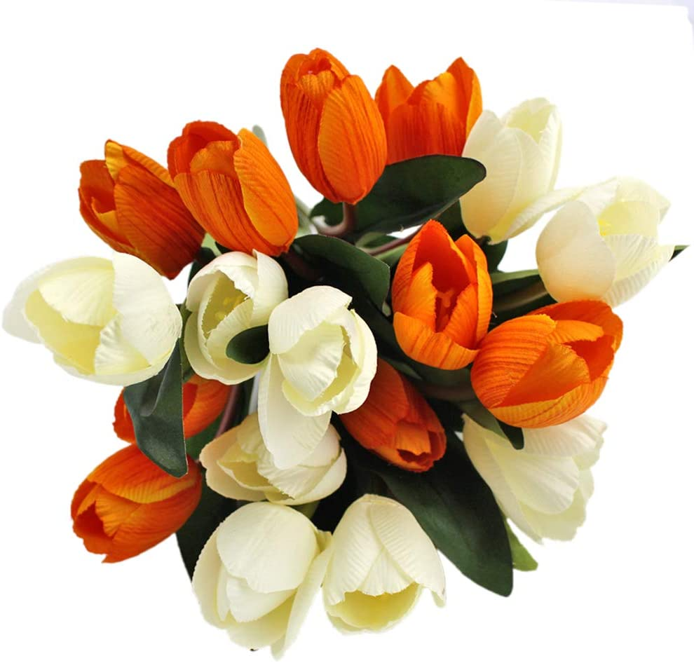 White and Yellow Artificial Tulip in Vase
