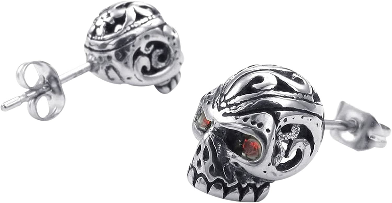 R argent rouge SODIAL Clous doreilles A diamant zircone en forme de crane gothique en acier inoxydable pour les hommes avec un sac de velours
