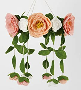 Sorrel + Fern Flower Crib Mobile Rose Nursery Decorations - Baby Shower Gift for Girls