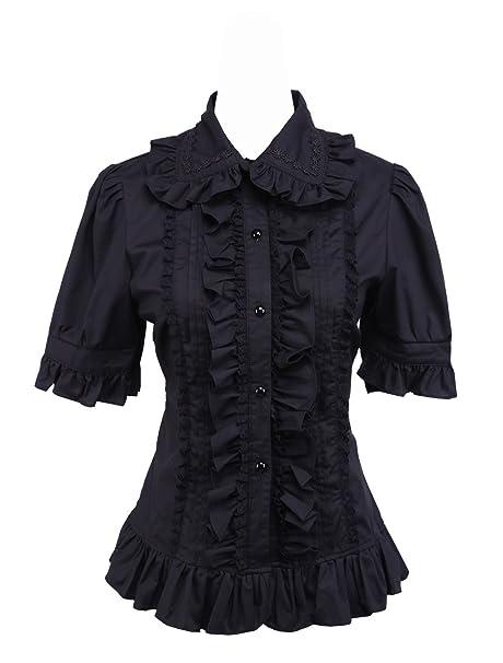 Volantes Retro Negra Victoriana An Amazon Camisa na Algodón Lolita es Kawaii Accesorios De Y Encaje Ropa Mujer Blusa tai qYAX14