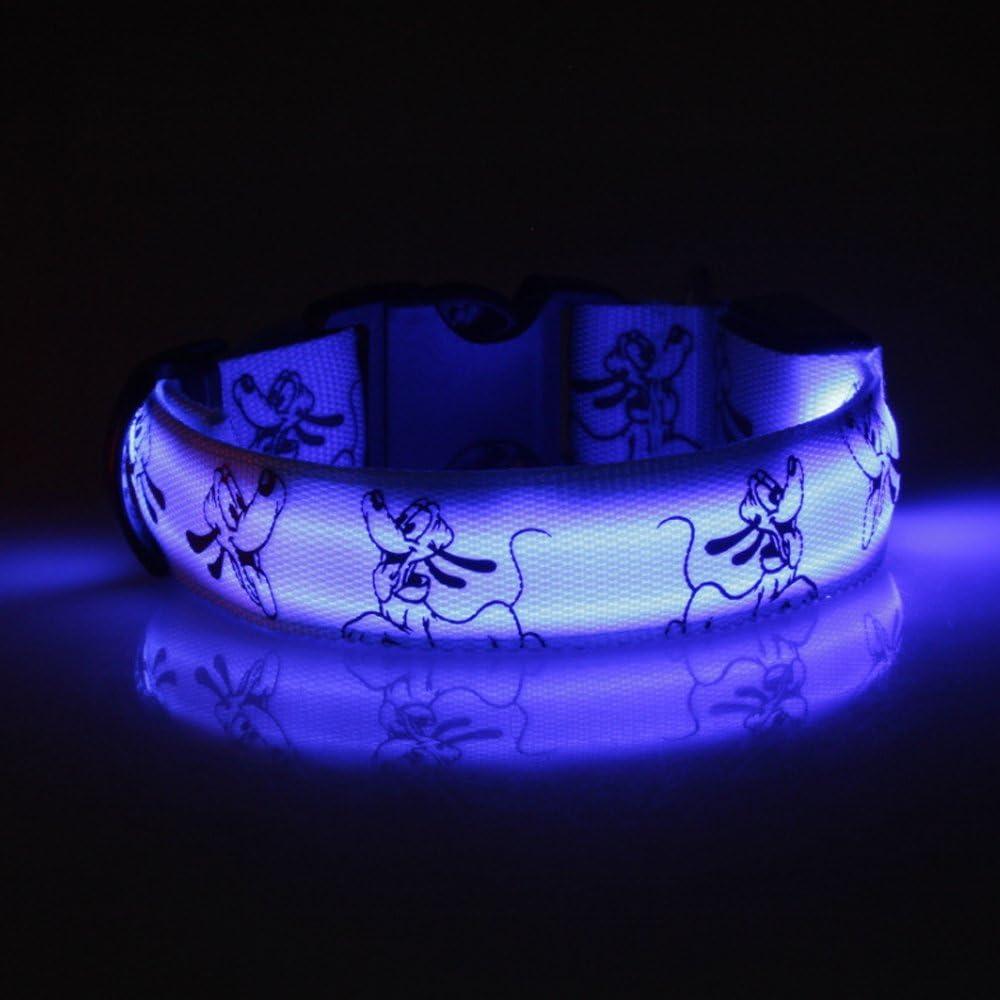 Eizur Regolabile LED Cani Collare Riflettente Luci Lampeggianti Notte Sicurezza Cane Animali Collare 3 Modalit/à Illuminazione Dimensione L--Verde