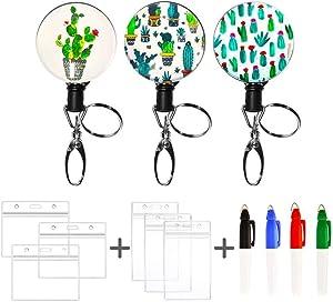 Decorative Retractable Nurse Metal Badge Holder Reel Clip with Waterproof ID Holders Key Rings 4 Kawaii Liquid Highlighters Office Worker Doctor Nurse Badge Holder (Cactus 3 Pieces)