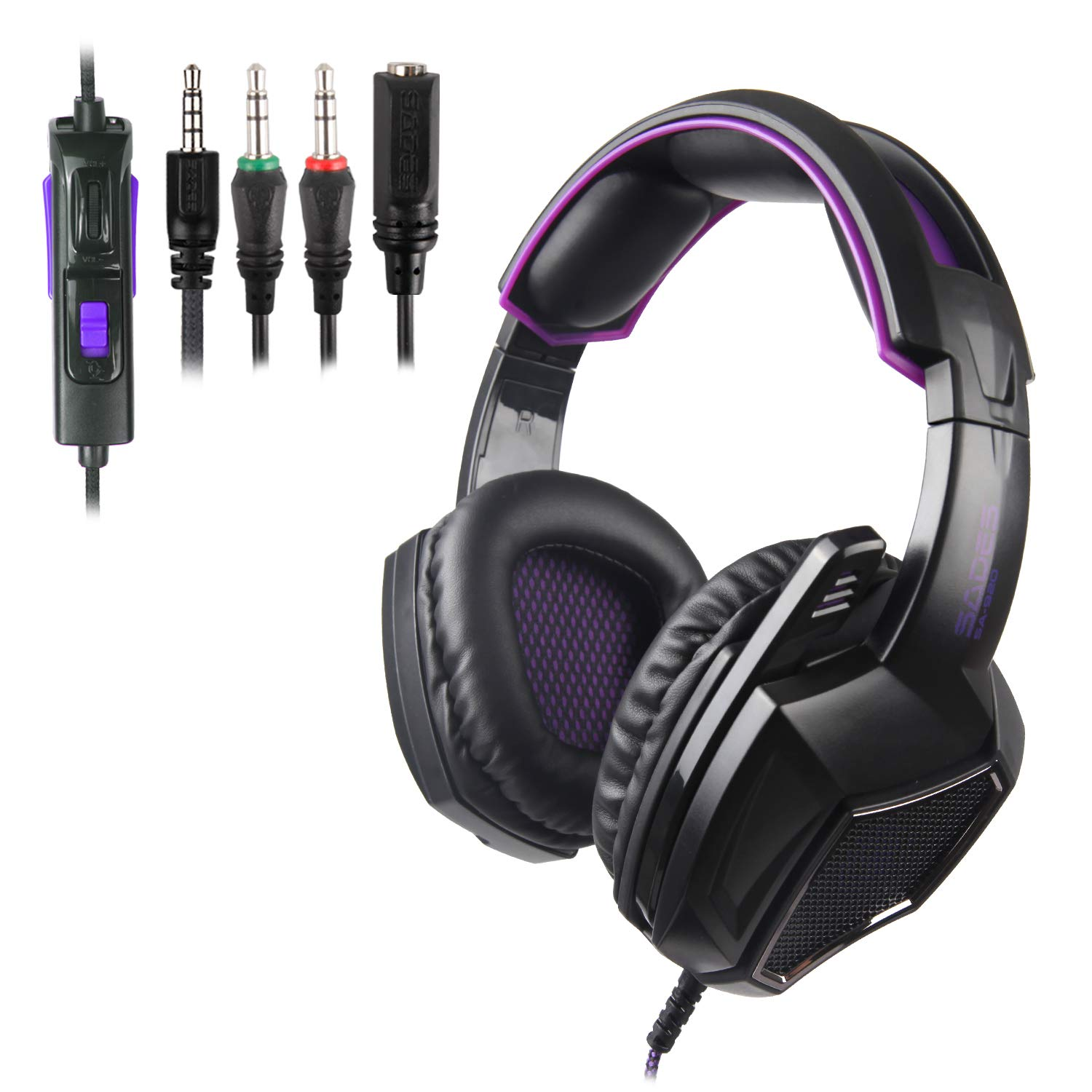 Black White PS4 Xbox One Gaming Headsets,Sades SA920 3.5mm Wired Over Ear Stereo Gaming Headphones with Microphone for PC iOS Computer Gamers Smart Phones Mobiles