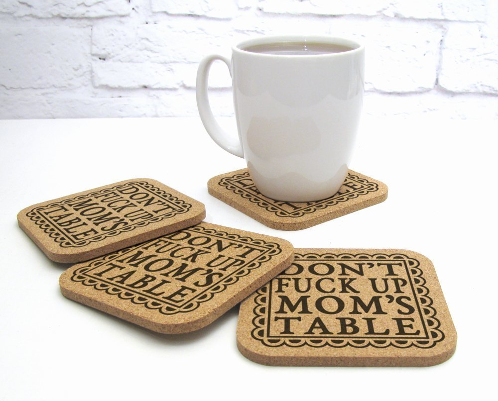 8 Track Romeo Don't Fuck Up Mom's Table 4 pc Funny Cork Coaster Gift Set For Mother