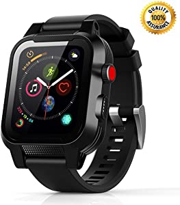 Waterproof Apple Watch Case - 42mm Waterproof iWatch Series 2 & 3 Case Bands Apple Watch 3 Waterproof Case 42mm iWatch Series 2 and 3 Case 42mm Apple Watch Bands Full Protective Case Black for Men