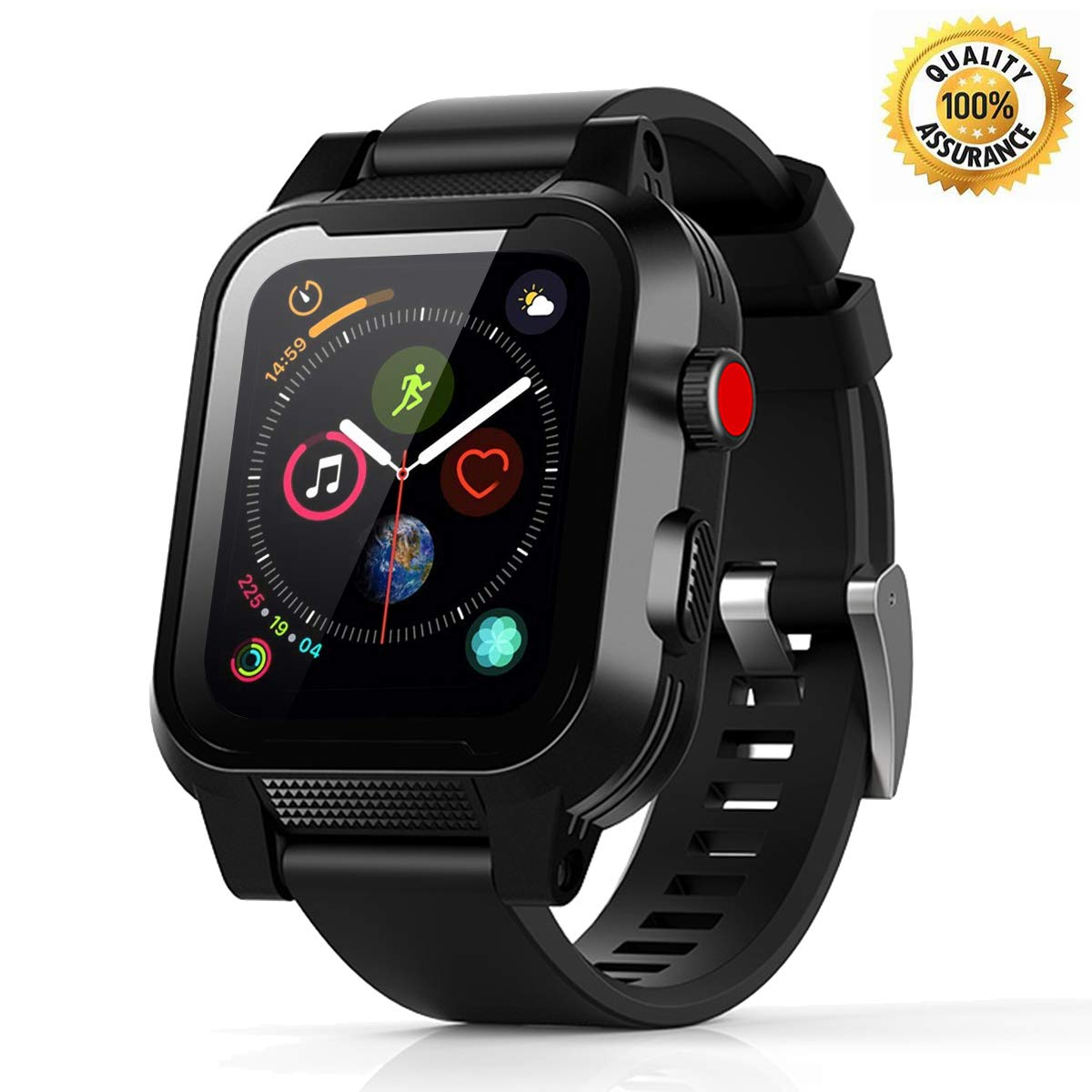 Waterproof Apple Watch Case - 42mm Waterproof iWatch Series 2 & 3 Case Bands Apple Watch 3 Waterproof Case 42mm iWatch Series 2 and 3 Case 42mm Apple Watch Bands Full Protective Case Black for Men by Transy
