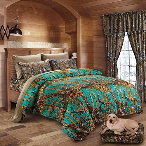 20 Lakes Hunter Camo Comforter, Sheet, Pillowcase Set (King, Teal/Brown) (20l Snow)