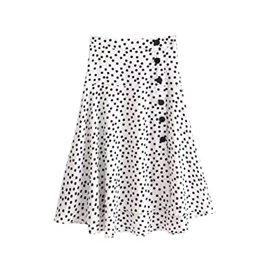 e298b6f72408c8 iBaste_S 2018 Mode Femmes Taille Haute Jupe Imprimer Polka Dot Blanc ...