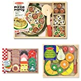 Melissa & Doug Pizza Party Wooden Set + Melissa & Doug Sandwich Making Set + Melissa & Doug Cutting Fruit Bundle