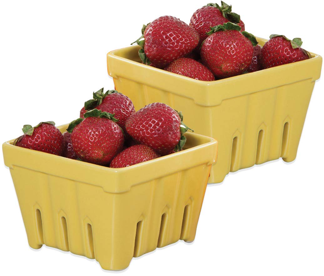 Ceramic Fruit Stand Berry Basket (2, Yellow)