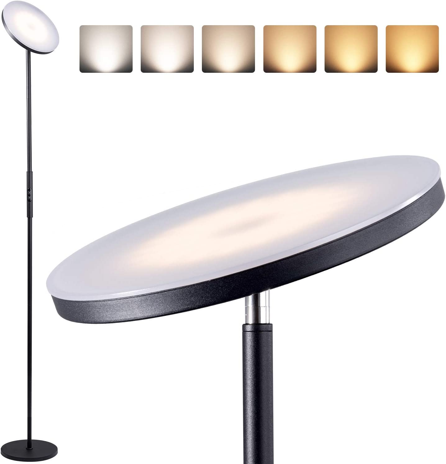 Addlon Floor Lamp, Torchiere 6 Color Temperatures Super Bright Sanding Lamp for Living Room, Bedroom and Office, with Stepless Dimming, Memory Function - Classic Black
