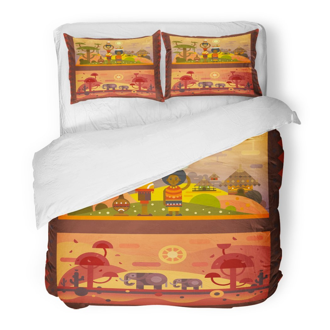 SanChic Duvet Cover Set African Everyday Woman Bowl on Head Boy Decorative Bedding Set with 2 Pillow Shams King Size