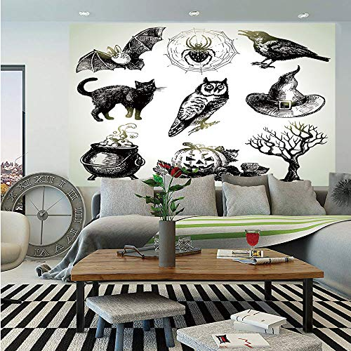 Vintage Halloween Wall Mural,Halloween Related Pictures Drawn by