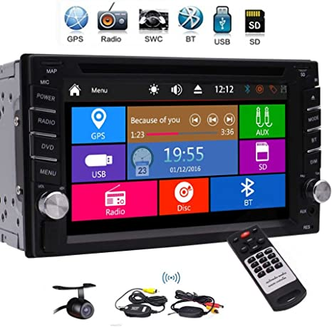 EinCar 7 Touch Screen Car Stereo Radio Receiver Double 2 Din in Dash GPS Navigation Car MP5 MP3 Player Bluetooth Car Audio Multimedia System Support 1080P Video AUX Backup Camera GoodWill Sky YH.MP5.251GNN+FcamABC